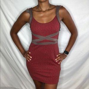 UO Free People Mini Dress bodycon M red brown